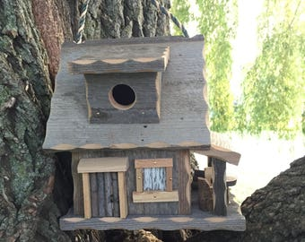 Barnwood Cabin Birdhouse with cozy porch/ Rustic Birdhouse, wooden birdhouse, functional birdhouse