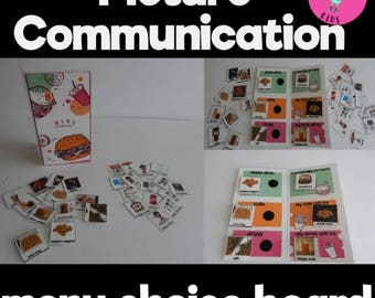 Menu-Style Choice Board with picture cards for menu & communication board