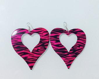 Heart Pink and Black Zebra Print Earrings
