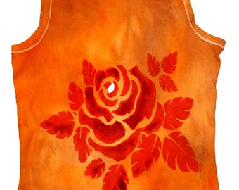 T-shirt tank top woman reading a large rose hand painted