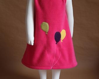 Fair - Dress girl 2 years, fleece lined, bright pink