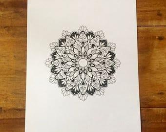 Hand Drawn Mandala - A4