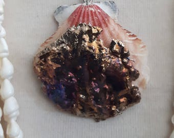 Dipped Bismuth Scallop Shell Necklace
