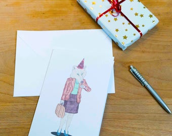 Funny Wolf Illustrated Happy Birthday Card