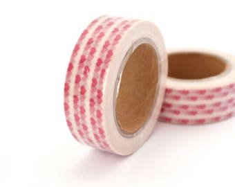 1 coil 10 m of masking tape white hearts red 15mm.
