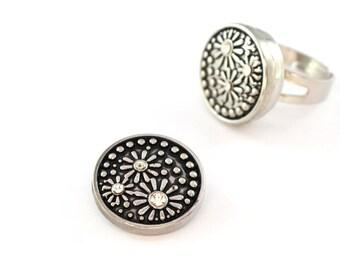 Cabochon 20 mm black silver floral snap snap