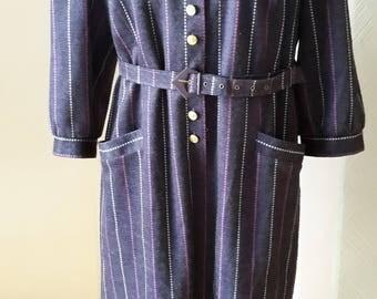40s style grey striped dress, large size