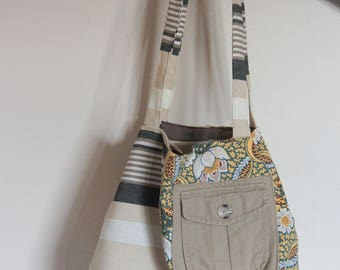 Tote bag, recycled textile, stripes and flowers