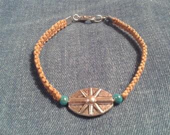 Natural beige hemp cord woven bracelet
