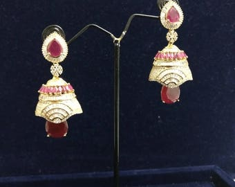 Ruby CZ Diamond Earrings