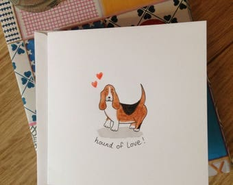 Hand painted basset hound dog card - hound of love!