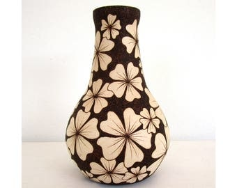 Pyrographed wood vase, wooden vase, wooden art, design vase, handmade vase, flower vase, decorative vase, home interior, natural wood vase