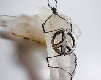 Wire Wrapped Crystal Quartz with Peace Sign Necklace