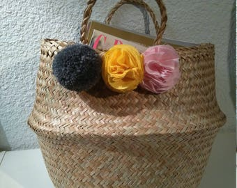 Thai basket yellow, pink peonies and charcoal gray tassel decoration and storage