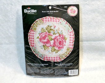 "Bucilla Needlepoint Kit ""Roses with Quilt Border"" 