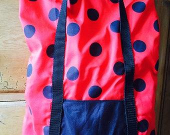 Red & Black Spotty Handbag with Pocket Detail