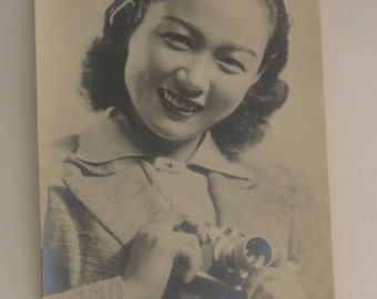 Vintage Japanese Black White Photograph - 1940s - Actress? 3.25 x 5.25 Inches - Holding camera