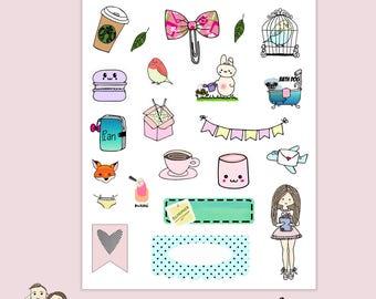 SAMPLER PLANNER STICKERS   Kawaii Girl   Erin Condren Character Sampler Big