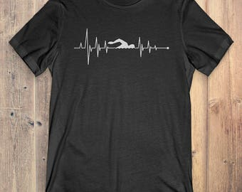 Swimming T-Shirt Gift: Heartbeat Swimming