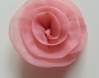 applique fleur organza rose saumon     65mm