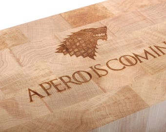 Hornbeam wood block of wood - drink Is Coming - 100% made in France-