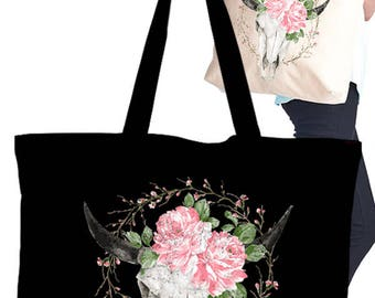 Eco Tote Bag with Screen bullhead with flower graphic print