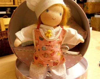 Waldorf doll pastry in eco-friendly fabric made by hand