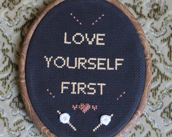 Love yourself handmade cross stitch with embroidered roses