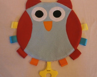 Baby comforter Owl Face with tags and teether