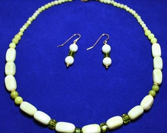 Shades of Jade Necklace Set with Peridot Green Jasper, New Jade, Swarovski Crystal Cubes in Light Olive and 14K Gold Filled Accents