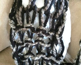 Black and grey handmade infinity scarf