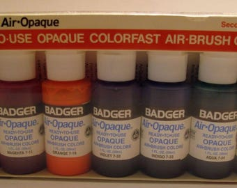 Badger-Air-Opaque-Ready-to-Use-Air-Brush-Paints-Secondary Set or Supplementary Set - 7 Bottles New