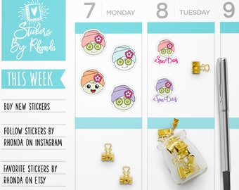 Self Care Stickers - Self Care Planner Stickers - Me Time Stickers - TN Stickers  - Facial Stickers - Spa Day Stickers