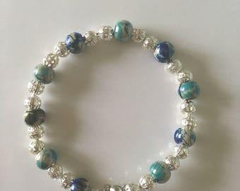Blue and green beaded bracelet.