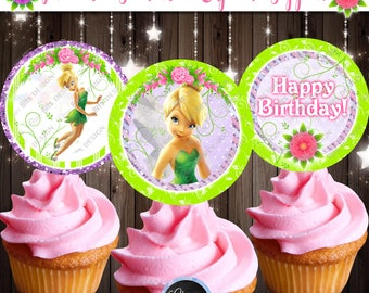 Tinkerbell Cupcake Toppers, Tinkerbell Fairy Cupcake Toppers, Fairy Cupcake Toppers, Printable Tinkerbell Theme, Neverland Party Printables