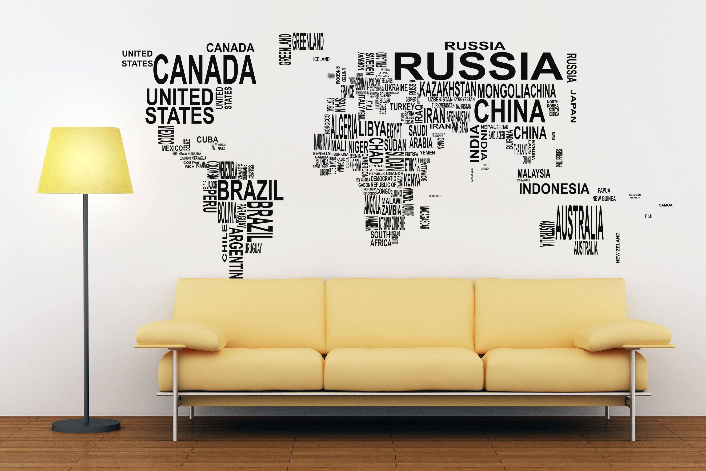 Typography world map decals for home decor lettering usa 1 gumiabroncs Images