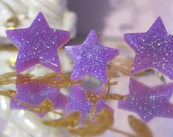 Purple Glitter Star Resin Ring Girls Jewelry