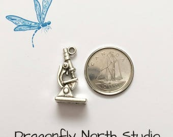 Microscope charm - silver microscope charm - medical charm - science charm - antiqued silver tone charm