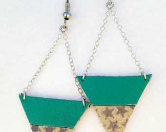 Earrings leather triangles