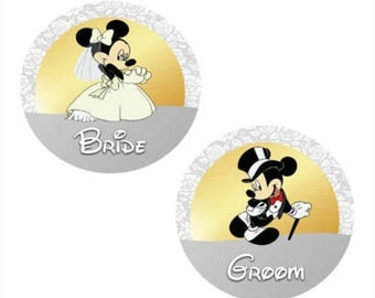 Minnie Bride and Mickey Groom Inspired Wedding Pin Set - Wedding Buttons - Theme Park Buttons - Just Married Buttons