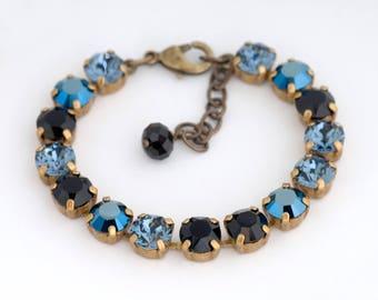 Navy Blue Bracelet, Blue Crystal Bracelet, Swarovski Crystal Bracelet, Dark Blue Rhinestone Bracelet, Crystal Jewelry Tennis Bracelet Delora