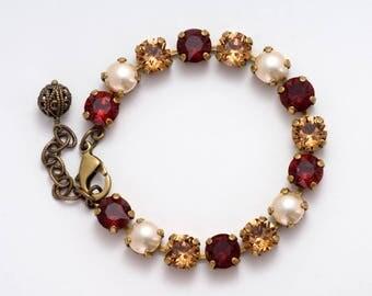 Red Bracelet, Autumn Wedding Bracelet, Fall Wedding Jewelry, Red Wedding, Red Swarovski Bracelet, Red Crystal Bracelet Crystal Jewelry Githa