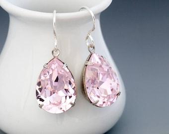 Pale Pink Earring, Pink Swarovski Crystal Earring, Light Pink Rhinestone Earring, Pink Crystal Jewelry Hypoallergenic, Drop Earring, Haifa