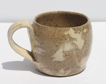 Red and White Clay Mug