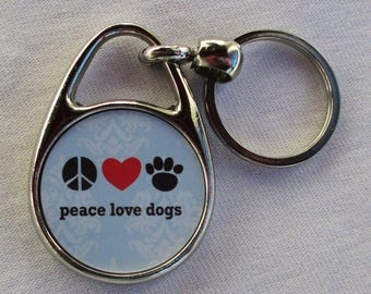 Peace Love Dogs Keychain