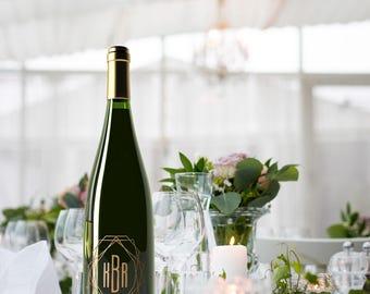 Custom Wine Bottle Labels Modern Wedding Decorations Monogram Decal Wedding Centerpieces wine labels bridal shower wedding shower gift ideas