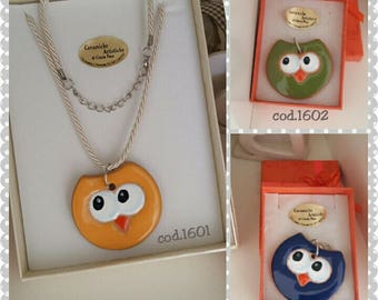 Necklace with charms ceramic owls