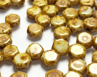 30Pc 6mm Honeycomb Beads Chalk Dk Travertine
