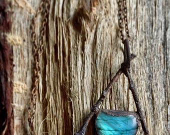 Oak Branch and Labradorite Copper Necklace