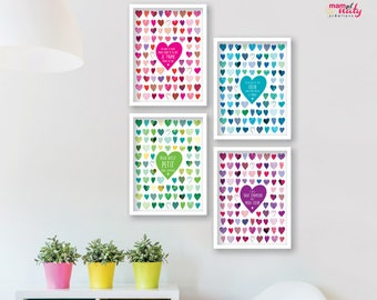 SET 4 posters hearts text quote colors pink blue purple Green
